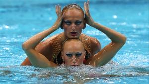 Daria Iushko and Kseniya Sydorenko of the Ukraine compete in the Women's Duets Synchronised Swimming