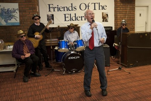 Sean Whelan singing at The Wednesday Club at the Friends of the Elderly