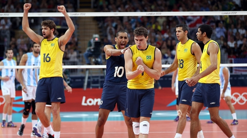 Bruno Rezende No 1 and Sergio Santos No 10 celebrate Brazil's victory