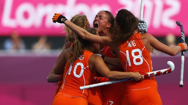 Maartje Paumen of Netherlands celebrates scoring the Netherlands' second goal