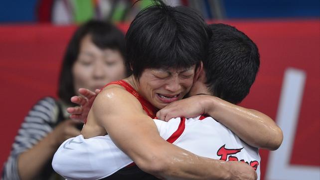 An emotional Hitomi Obara celebrates her victory