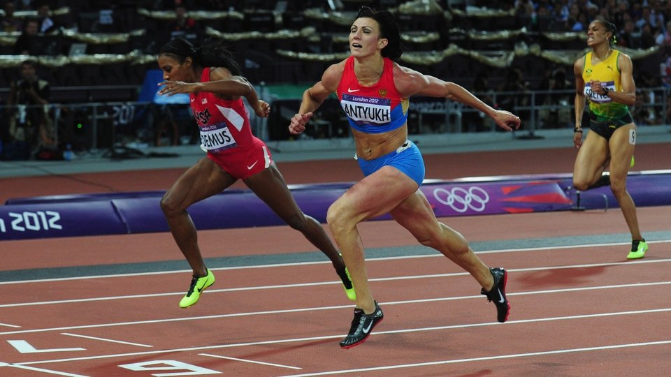 Natalya Antyukh barely held on for victory in the women's 400 metres hurdles