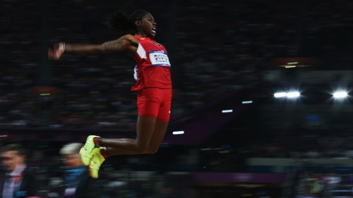 Britney Reese jumps her way to gold