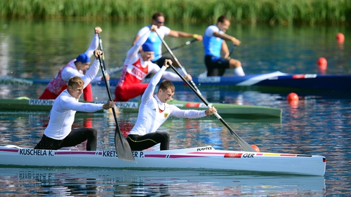 Kurt Kuschela (left) and Peter Kretschmer of Germany in action in the men's canoe double 1,000m final
