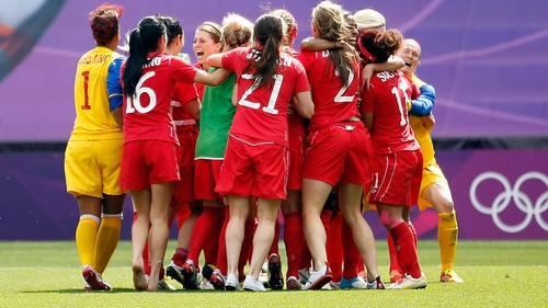 Canada celebrate their bronze medal victory