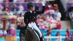 Charlotte Dujardin of Great Britain riding Valegro celebrates during the individual dressage