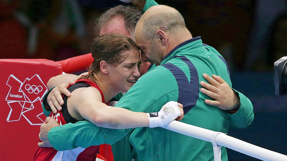 Katie Taylor reacts after beating Russia's Sofya Ochigava to claim Ireland's first boxing gold since 1992