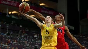 Samantha Richards of Australia lays up a shot against United States