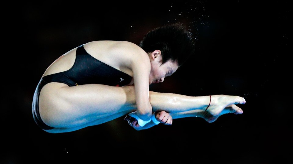 China's Chen Ruolin on her way to winning the women's 10-metre platform final