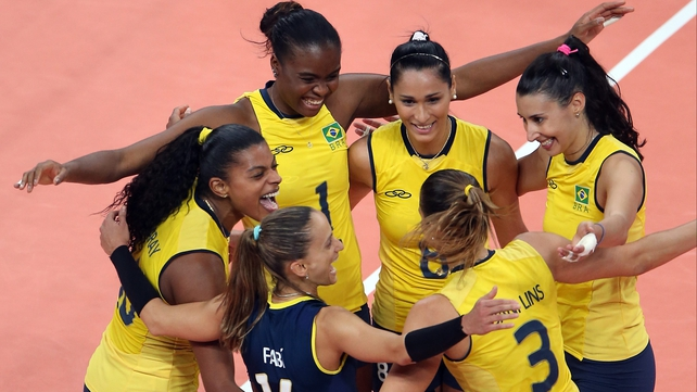 Brazil celebrate their victory over Japan