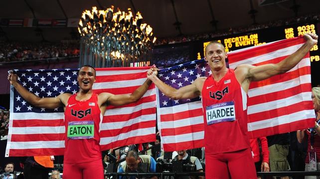 Ashton Eaton (L) of the United States and Trey Hardee (R) of the United States celebrate