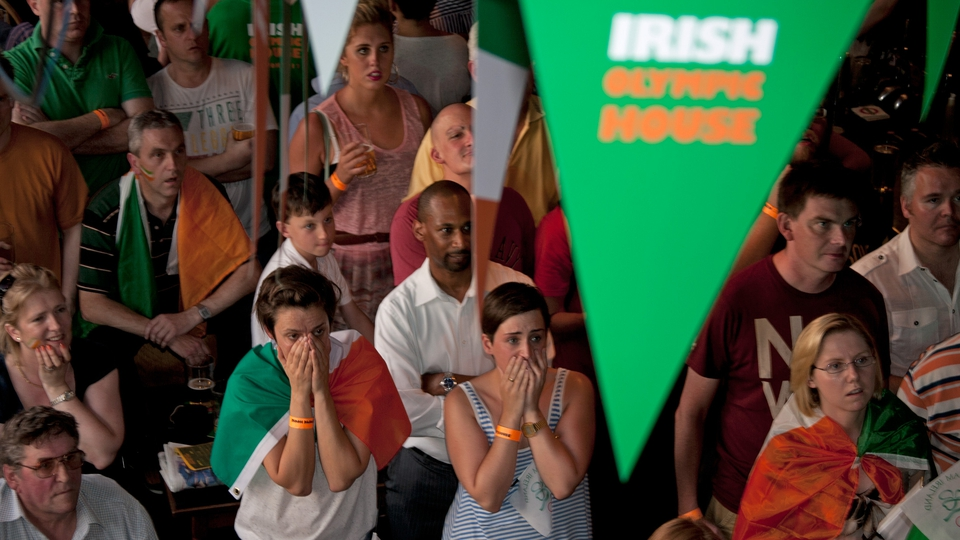 The crowd at the London Official Olympic Irish House are on tenterhooks waiting to hear the result of the Katie Taylor fight