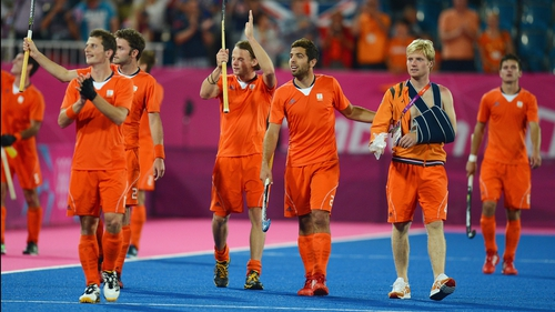 The Netherlands celebrate their passage to the hockey final