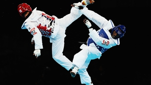 Diogo Silva of Brazil competes against Mohammad Bagheri Motamed of Iran during the Men's -68kg Taekwondo semifinal match
