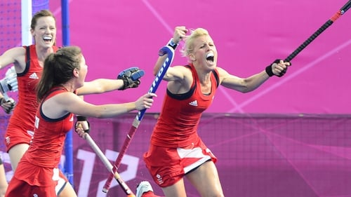 Alex Danson (right) celebrates with team-mates after scoring during the women's hockey bronze medal match against New Zealand