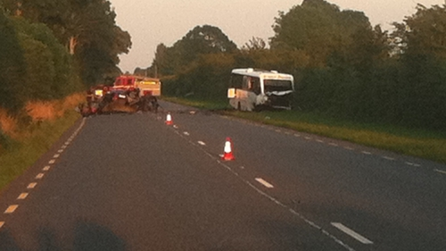 The crash happened when a car collided with a mini-bus