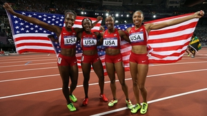 Tianna Madison, Allyson Felix, Bianca Knight and Carmelita Jeter are the new world record holders