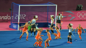 The Netherlands celebrate after scoring their second goal