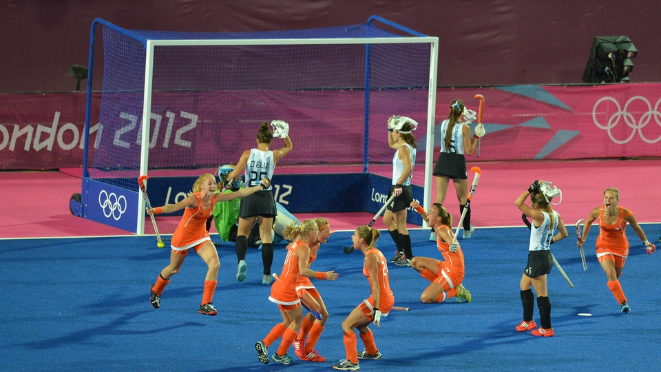 The Netherlands celebrate their first goal in their 2-0 hockey final win over Argentia