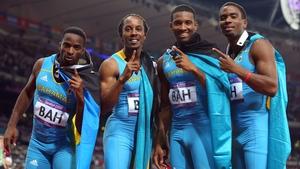 Chris Brown, Demetrius Pinder, Michael Mathieu and Ramon Miller celebrate gold