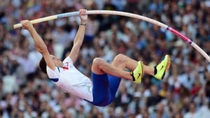 France's Renaud Lavillenie produced an Olympic record jump of 5.97 metres to win gold in the men's pole vault