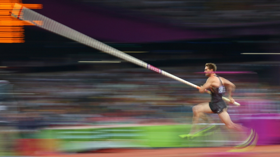 Bjorn Otto of Germany competes in the Men's Pole Vault Final