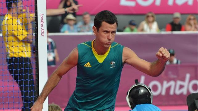 Jamie Dwyer celebrates giving Australia a 2-1 lead