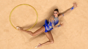 Evgeniya Kanaeva of Russia competes during the Individual All-Around Rhythmic Gymnastics