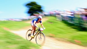 Georgia Gould of the USA competes in the women's cross-country Mountain Bike