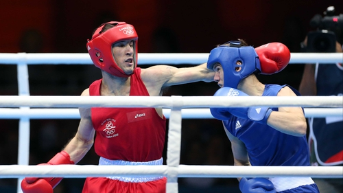 Ireland's John Joe Nevin misses with a straight left in his gold medal bout with Luke Campbell