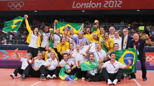 Brazil celebrate their victory at Earls Court