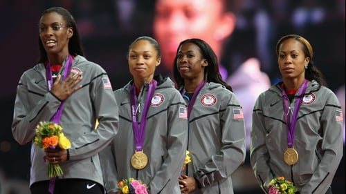 DeeDee Trotter, Allyson Felix, Francena McCorory and Sanya Richards-Ross of the United States romped to the gold medal in the 4x400m final