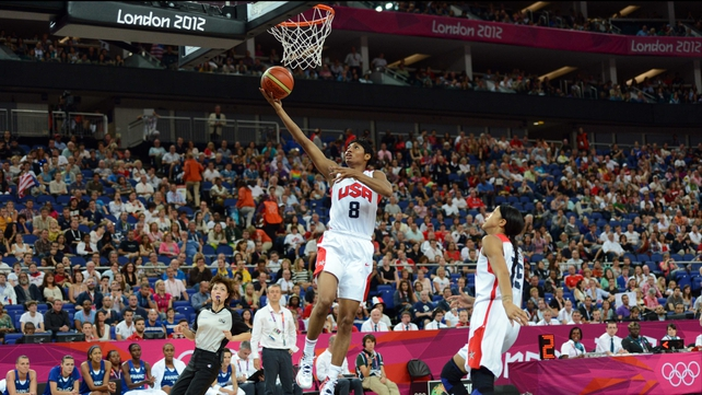 US point guard Angel McCoughtry jumps to score