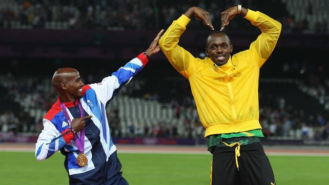Mo Farah (L) and Usain Bolt won five gold medals between them at this year's World Championships in Moscow