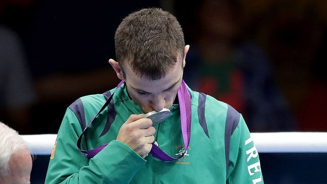 John Joe Nevin kisses his silver medal