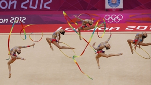 The Russian team perform with ribbons