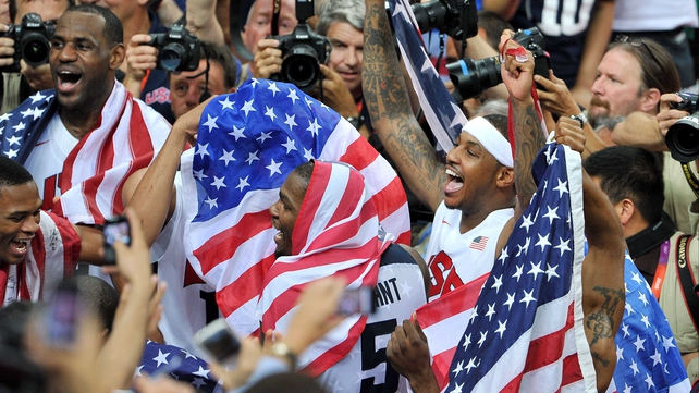 Dream Team members LeBron James, Carmelo Anthony and Kevin Durant celebrates victory over Spain