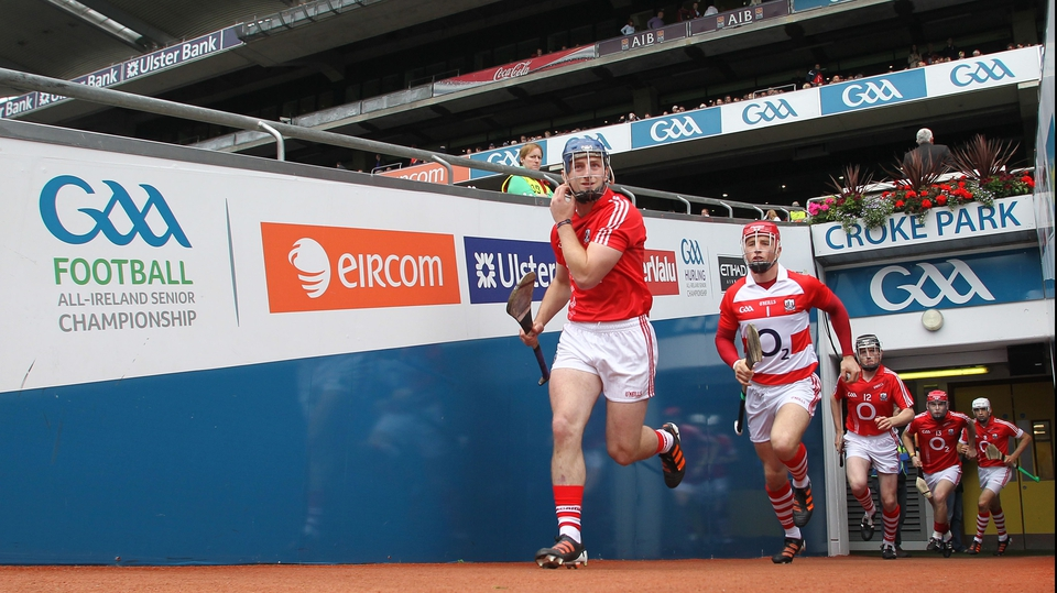 The Cork team emerge from the tunnel ahead of the senior semi-final against Galway