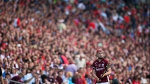 Joe Canning prepares to take a sideline cut as the masses look on from the Cusack Stand