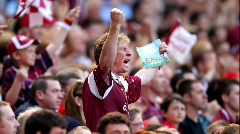 A Galway fan realises his side are on the way to a first All-Ireland final appearance since 2005