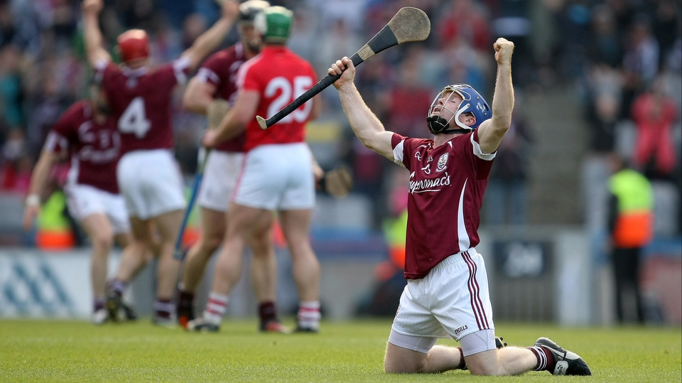 Galway's Damien Hayes celebrates at the final whistle after Galway booked their place in the All-Ireland final on a 0-22 to 0-17 scoreline