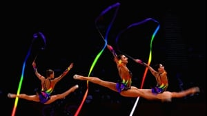 Belarus perform during the Group All-Around Rhythmic Gymnastics Final Rotation 2