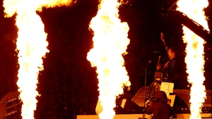 We hope Matthew Bellamy of Muse was wearing something fire retardant
