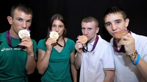 Ireland's John Joe Nevin, Katie Taylor, Paddy Barnes and Michael Conlan show off their boxing medals