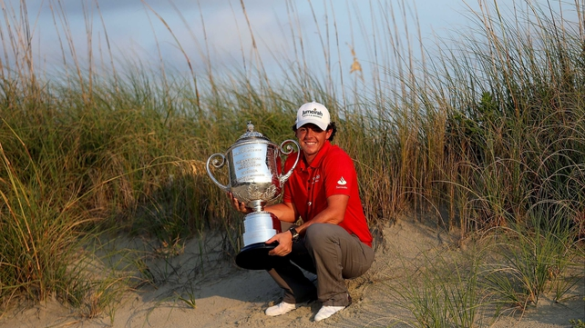 Rory McIlroy pictured with the Wanamaker Trophy after his PGA Championship victory at Kiawah Island