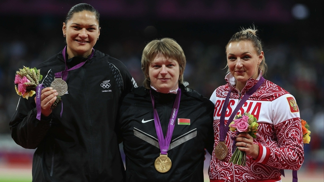 The gold medal will now go to New Zealand's Valerie Adams (left)