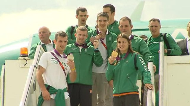 The Irish team at Dublin Airport this afternoon