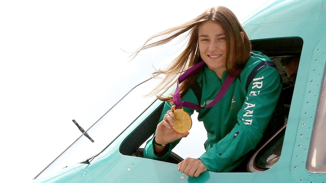 Katie Taylor in the cockpit of the plane just as the team arrived
