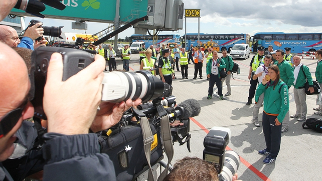 A huge media presence at Dublin Airport