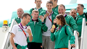 Followed by Ireland's other medal winners. Pictured left to right: John Joe Nevin (silver), Paddy Barnes (bronze), Michael Conlan (bronze), Cian O'Connor (bronze) and Katie Taylor (gold)